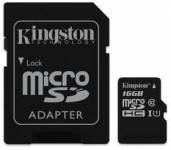 Kingston 16GB microSDHC Class 10 UHS-I (r80MB/s, w10MB/s) + adaptér