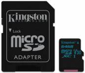 Pamäťová karta Kingston Canvas Go! MicroSDXC 64GB UHS-I U3 (90R/45W) + adapter (SDCG2/64GB)